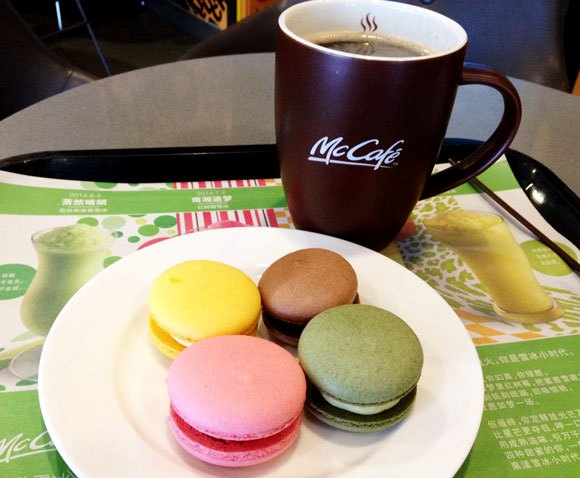 We try colorful macarons at a McDonald's in Shanghai