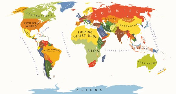 Stereotype map, the world according to Americans