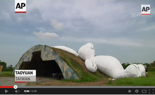 Giant rabbit takes over Taiwanese military bunker