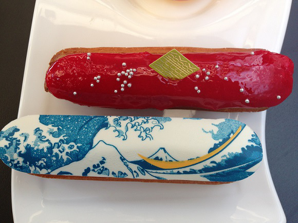 Artistic éclairs featuring Japanese woodblock print by Hokusai available for a limited time only