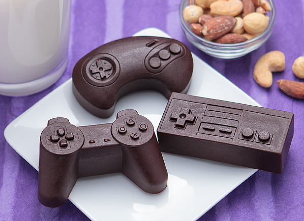 Make your own chocolate, cake or popsicle game controllers with these molds from ThinkGeek
