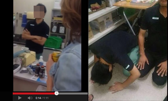 Video showing convenience store workers being forced to kowtow to thugs leads to one arrest