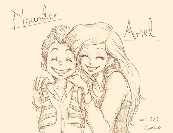 ariel_and_flounder_by_chacckco-d51583c