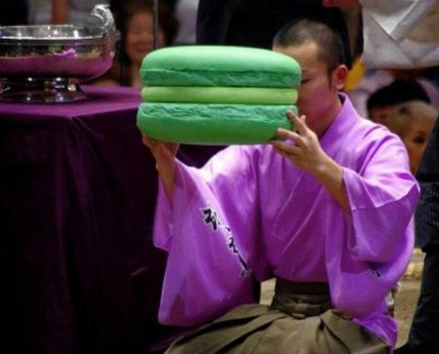 Congratulations on being awesome at sumo! Have a giant macaron!