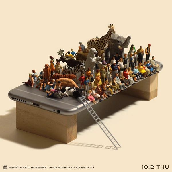 Miniature photographer enlists 100 tiny friends to try to bend his new iPhone 6 Plus