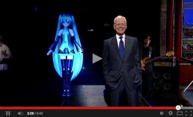 "Hatsune Miku performs ""live"" on David Letterman! We love it, not sure he does though…【Video】"