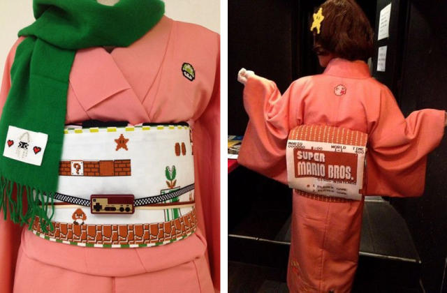 Nintendo fan's Super Mario kimono is an awesome mix of retro gaming and historical fashion