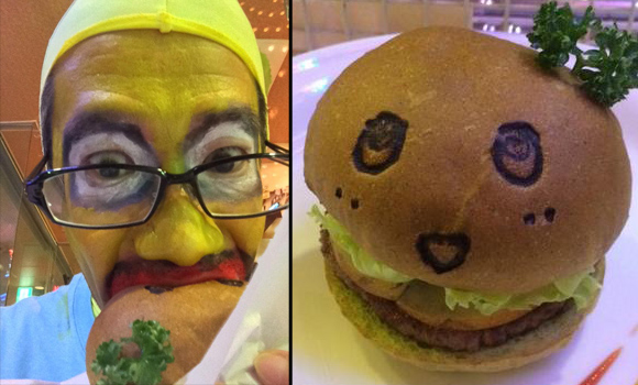 Funasshi's unofficial mascot Satosshi grabs a pear burger and risks getting beaten up
