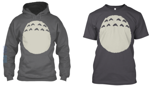 Wear your love of anime on your stomach with Totoro Tummy hoodies and tees