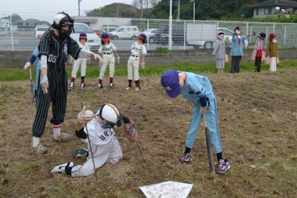 Unsettling softball-playing scarecrows keep Japanese town entertained, creeped out