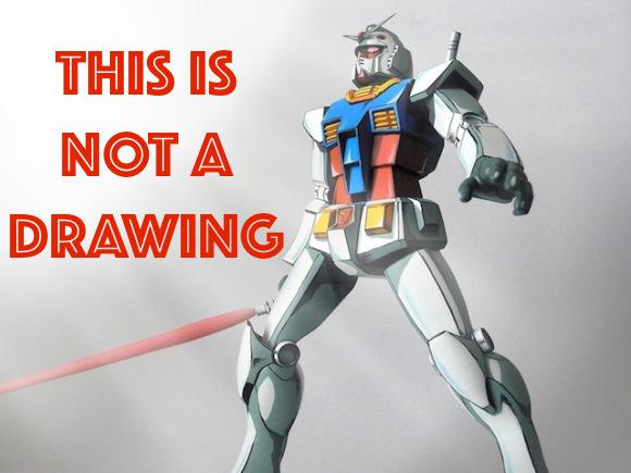 Japanese model builder wins at Gundam, makes a 3D model look like a flat drawing