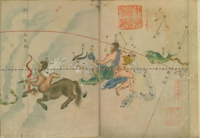 East meets West in this beautifully detailed 18th century star chart