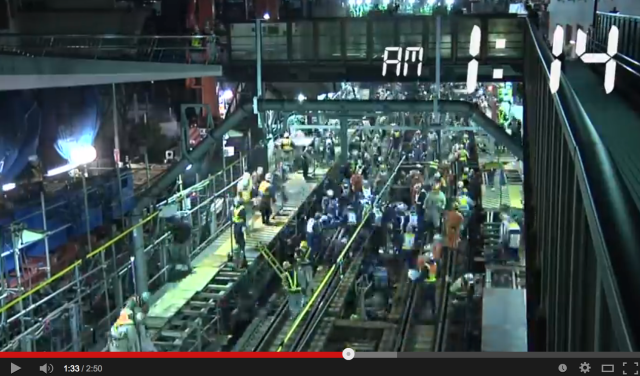 1,200 Japanese workers convert above-ground train to subway line in a matter of hours