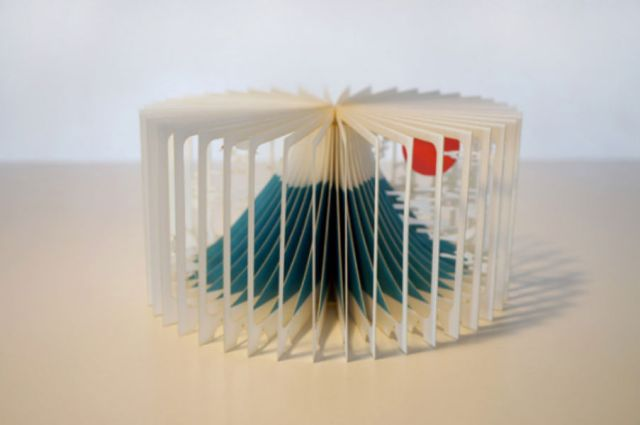 """Laser-cut, 360-degree """"book"""" lets you bring Mt. Fuji into your home"""