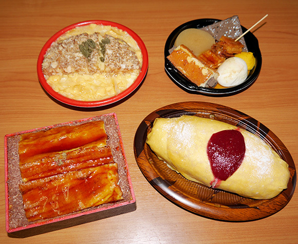 This rice omelet, grilled eel, oden, and fried pork are actually cakes! We try them all
