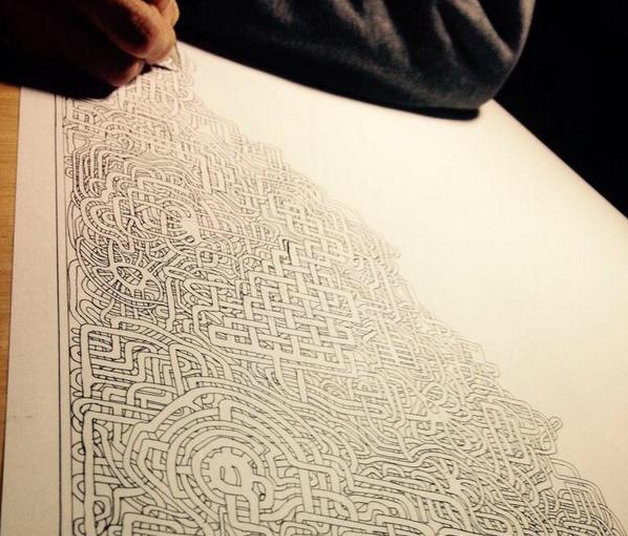 This man's first hand-drawn maze took seven years to complete, now he's working on a second one