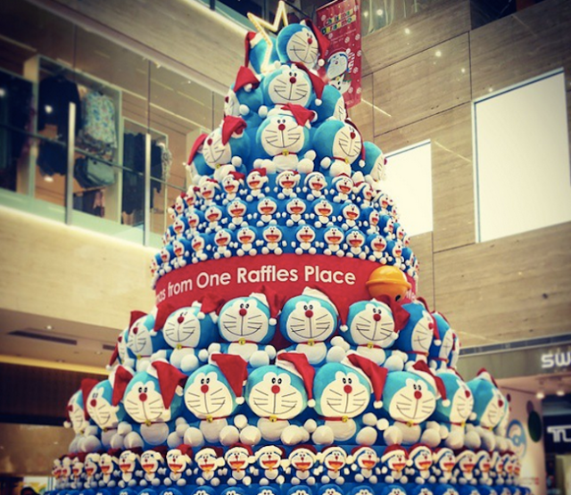 There's a Doraemon Christmas tree in Singapore