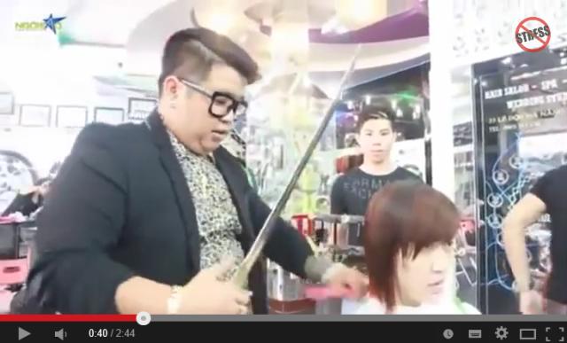 Who needs scissors? Stylist in Vietnam slices customers' hair with samurai sword