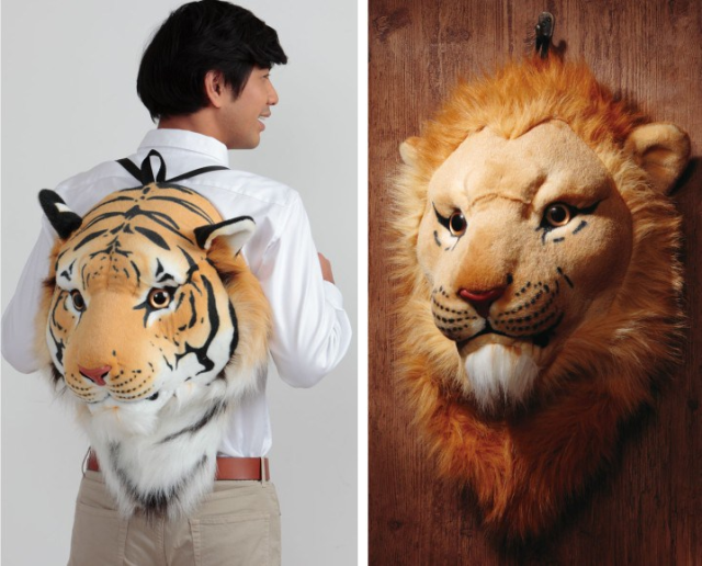 """Lifelike lion and tiger backpacks from Japan will make everyone who sees you say, """"Oh my!"""""""