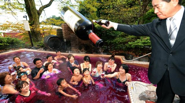 Sink or drink? Japan celebrates arrival of this year's Beaujolais Nouveau with special wine-bath