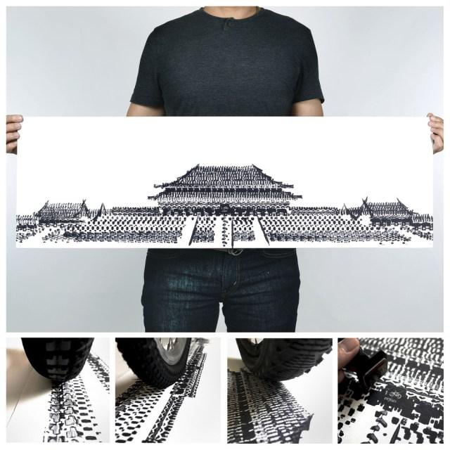 Singaporean artist creates beautiful works of art using bicycle tire tracks
