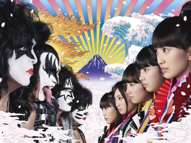 Rock band KISS collaborating with Sailor Moon Crystal's Momoiro Clover Z