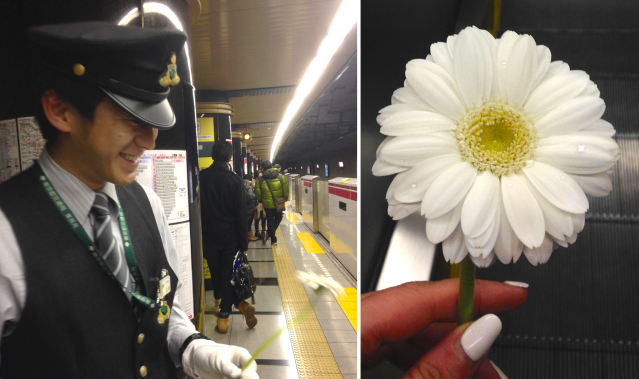 Give a stranger a flower: Art exhibit & a Parisienne in Tokyo leads to smile seen round the world