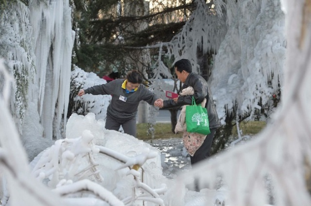 Water pipe bursts at Beijing art building, turns everything into a frozen winter wonderland
