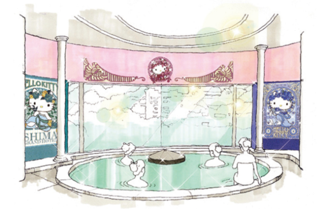 Hello Kitty hot spring lets you fill two spots at once on your Japan bingo card