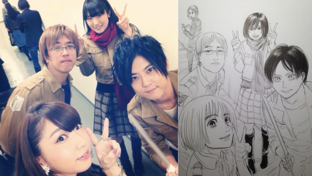 Hajime Isayama drew the Attack on Titan voice cast as their characters