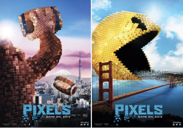 Pixel's film posters feature Pac-Man, Space Invaders, Donkey Kong, Galaga, more