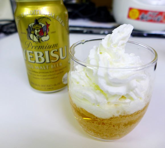We try beer with whipped cream on top…because we're fancy