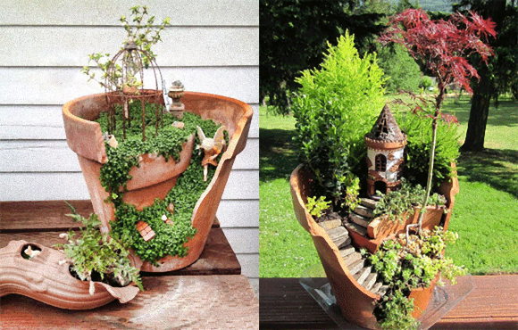 Put broken flowerpots to use by creating your very own miniature Laputa world