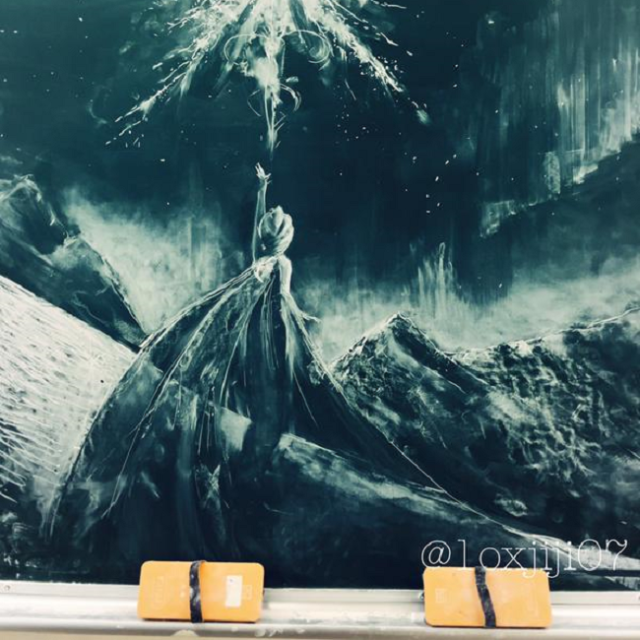 With adult responsibilities looming, Japanese teen lets loose with epic Frozen chalkboard art