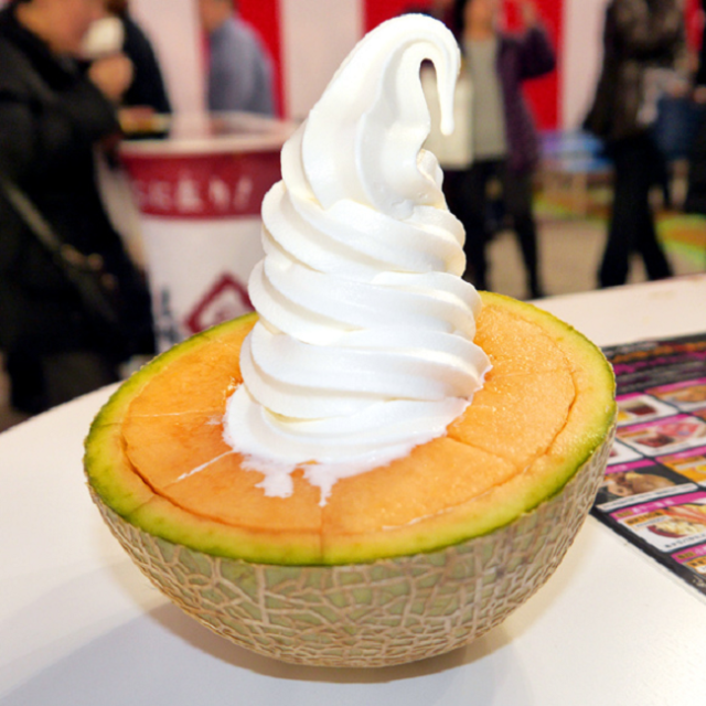 Melon topped with ice cream: two great Hokkaido tastes in one crazily delicious package