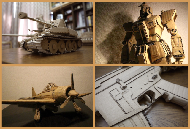 Artist makes cool Gundam, tanks, and rifles out of Amazon boxes to show they're all secretly cute
