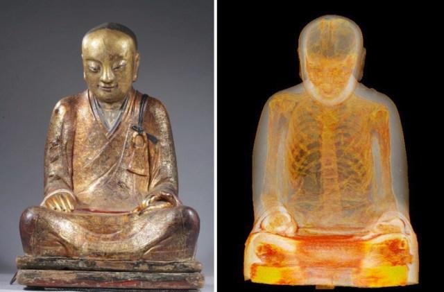 Mummified remains of monk found inside 1,000-year-old Buddha statue