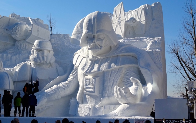 See the dark side of the force in pure white with Snow Festival's gigantic Star Wars sculpture