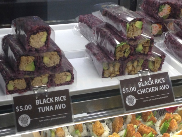 We try black rice sushi rolls in Australia