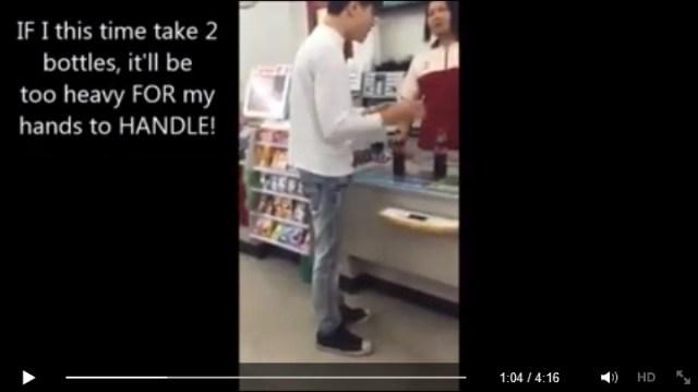 Man goes berserk over a bottle of free Coke because it's so heavy it'll break his arms【Video】