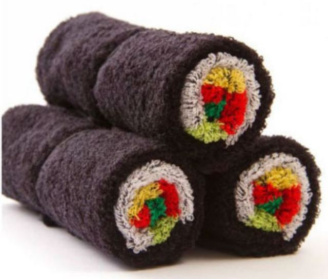 Creatively designed sushi roll towels give daily life a little extra flavor