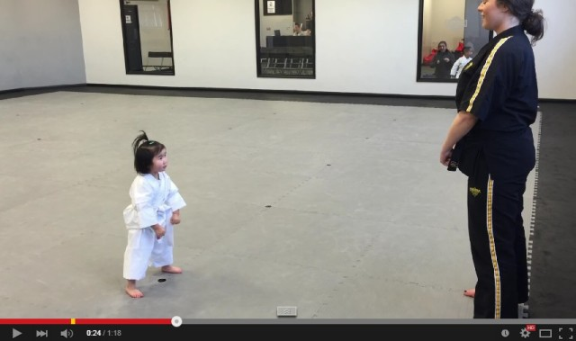 Three-year-old girl perfectly recites martial arts school's student creed, wields tiny fists of death