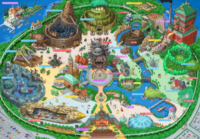 This amazingly detailed theme park map is what Tokyo Ghibli Land would look like