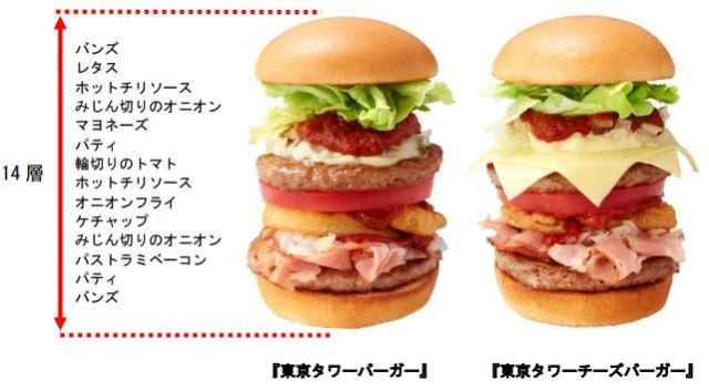 Japan's Mos burger releases inaugural tower burger to celebrate new Tokyo Tower outlet opening