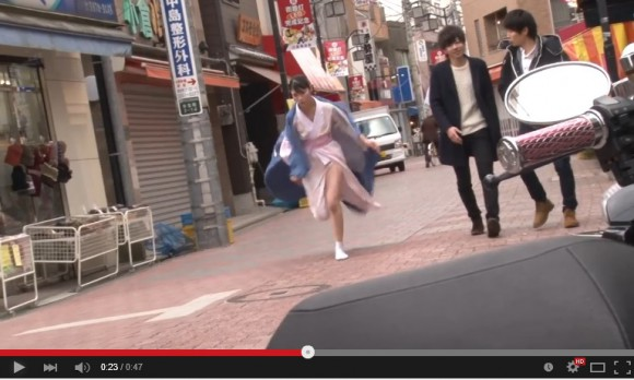 Traditionally dressed Japanese waitress runs so fast her kimono flies off in cheeky Wi-Fi advert