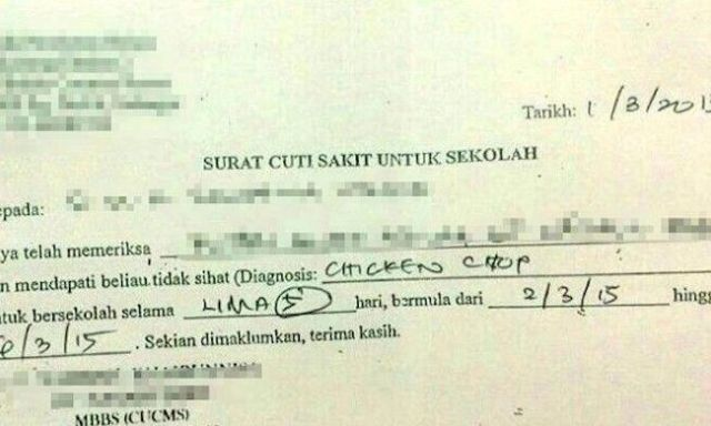 "Malaysia clinic left red-faced as student gets five days off school with a case of ""Chicken Chop"""