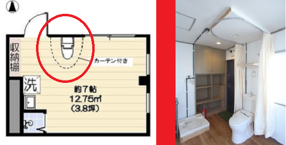 Poop quietly: One-room Tokyo apartment's toilet has only a curtain for privacy