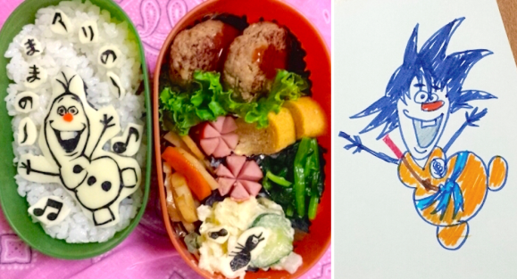 Olaf Frozen, Goku Dragon Ball, Character bento three years of kyaraben, iyagarase bento blog mom