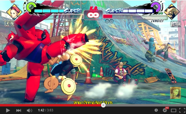 """Are you satisfied with your spinning pile driver?"" Fan inserts Baymax into Street Fighter IV"