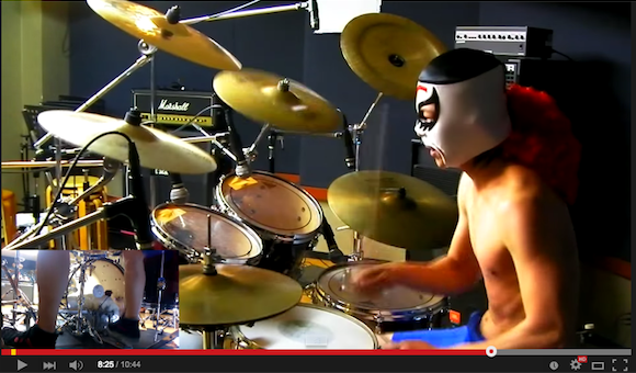 Masked drummer brings the heat to our favorite video game music